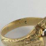 Золотое кольцо с цветочным орнаментом, фото №3