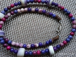 Фиолетовое колье кулон ракушка камушками, фото №5