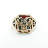 Масонское золотое (10к) кольцо с эмалями, фото №2