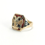 Масонское золотое (10к) кольцо с эмалями, фото №3