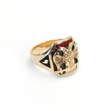 Масонское золотое (10к) кольцо с эмалями, фото №4