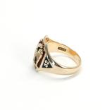 Масонское золотое (10к) кольцо с эмалями, фото №6