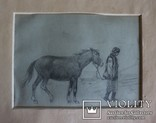 """Антін Монастирський (18781969), """"Гуцулка з конем"""". Львівська школа, фото №2"""