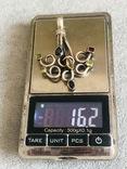 Массивная серебряная подвеска с самоцветами (серебро 925 пр, вес 16 гр), фото №3