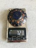 Массивный старинный серебряный кулон с лазуритом (серебро 800 пр, вес 72 гр), фото №3