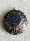 Массивный старинный серебряный кулон с лазуритом (серебро 800 пр, вес 72 гр), фото №5