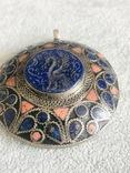 Массивный старинный серебряный кулон с лазуритом (серебро 800 пр, вес 72 гр), фото №6