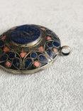 Массивный старинный серебряный кулон с лазуритом (серебро 800 пр, вес 72 гр), фото №7