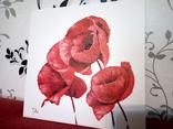 Картина маслом 25х25 Маки красные, фото №3