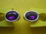 Клипсы со вставками аметистового цвета, фото №3