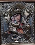 Ікона Володимирська Богоматір, латунь, 27х22, кіот, фото №3