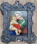 """Живописна мініатюра """"Мадонна з немовлям"""", срібна рамка, фото №2"""
