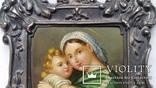 """Живописна мініатюра """"Мадонна з немовлям"""", срібна рамка, фото №5"""