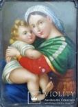 """Живописна мініатюра """"Мадонна з немовлям"""", срібна рамка, фото №13"""