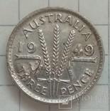 3 пенса 1949г серебро (брак при чекане) Австралия, фото №4
