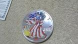 Американская Шагающая Свобода серебро+(эмаль)2001 год,Аmerican Historic Society, фото №4