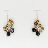 Золотые (10к) серьги-пуссеты с сапфирами и бриллиантами, фото №3