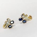Золотые (10к) серьги-пуссеты с сапфирами и бриллиантами, фото №4