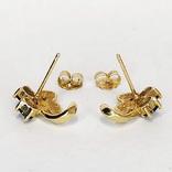 Золотые (10к) серьги-пуссеты с сапфирами и бриллиантами, фото №5