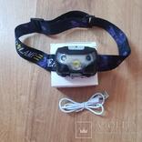 Налобний фонарик з датчиком руху на акомуляторі, фото №4