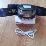 Налобний фонарик з датчиком руху на акомуляторі, фото №6