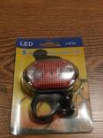 Фонарь велосипедный J-RT08 задний свет стоп 5 LED, фото №2