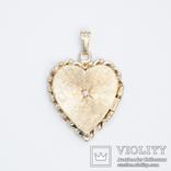 Золотой кулон-локет в форме сердца с бриллиантом, фото №2