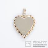 Золотой кулон-локет в форме сердца с бриллиантом, фото №3