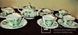 Антикварный сервиз чашки блюдца чайник клеймо TPM C.Tielsch Германия 1845-1850 г.г., фото №4