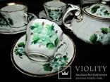 Антикварный сервиз чашки блюдца чайник клеймо TPM C.Tielsch Германия 1845-1850 г.г., фото №5