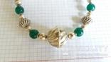 Ожерелье из серебра и зеленый агат. Италия, фото №2