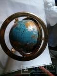Большой кабинетный настольный глобус из полудрагоценных камней с компасом, фото №4