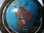 Большой кабинетный настольный глобус из полудрагоценных камней с компасом, фото №2