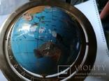 Большой кабинетный настольный глобус из полудрагоценных камней с компасом, фото №5
