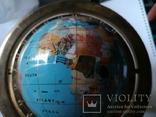 Большой кабинетный настольный глобус из полудрагоценных камней с компасом, фото №6