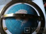 Большой кабинетный настольный глобус из полудрагоценных камней с компасом, фото №7