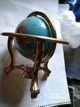 Большой кабинетный настольный глобус из полудрагоценных камней с компасом, фото №3