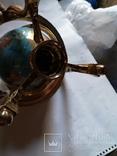 Большой кабинетный настольный глобус из полудрагоценных камней с компасом, фото №9
