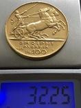 100 франга 1925 год Албания золото 32,25 грамма 900', фото №2