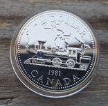 Канада 1 доллар 1981г. Серебро. Трансконтинентальная железная дорога. Паровоз., фото №2