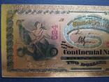 Золотая сувенирная банкнота США (2 Dollars 1875г), фото №4