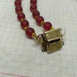 Стеклянные винтажные красные бусы, фото №10