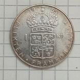 Швеция 1 крона 1955г серебро, фото №2