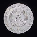 5 Марок 1968 125 лет со дня рождения Роберта Коха, Германия ГДР, фото №3