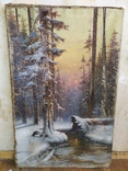 "Картина ""Закат в зимнем лесу"" Ю.Ю.Клевер(1850-1924гг), фото №2"