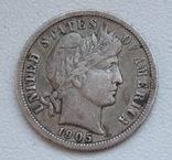 1 дайм / 10 центов 1905 г. США, серебро, фото №2