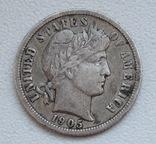 1 дайм / 10 центов 1905 г. США, серебро, фото №3