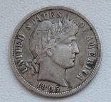 1 дайм / 10 центов 1905 г. США, серебро, фото №4