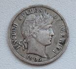 1 дайм / 10 центов 1905 г. США, серебро, фото №5