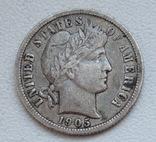 1 дайм / 10 центов 1905 г. США, серебро, фото №8